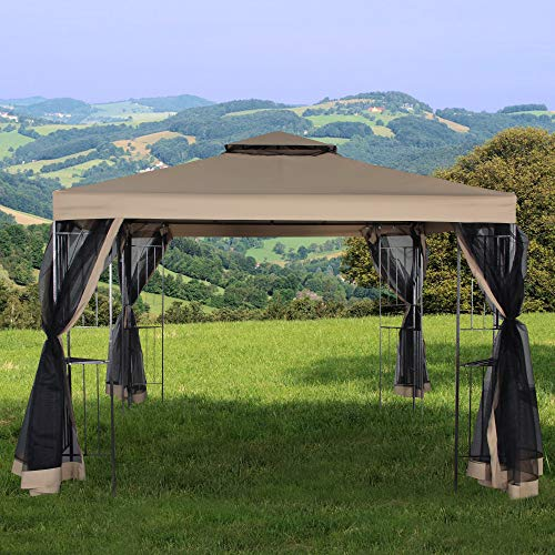 Homevibes 10' x 10' Gazebo for Patio Outdoor Canopy Party Tent Large Waterproof Metal Vented Gazebo for Garden Backyard Outside Barbecue Pool Shade with Mosquito Netting Double Tiered Top Roof, Tan