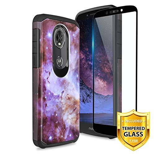 - TJS Motorola Moto E5 Plus/Moto E5 Supra/Moto E Plus 5th Gen Case [Full Coverage Tempered Glass Screen Protector] Dual Layer Hybrid Shockproof Impact Protection Rugged Phone Case Armor Cover (Stardust)