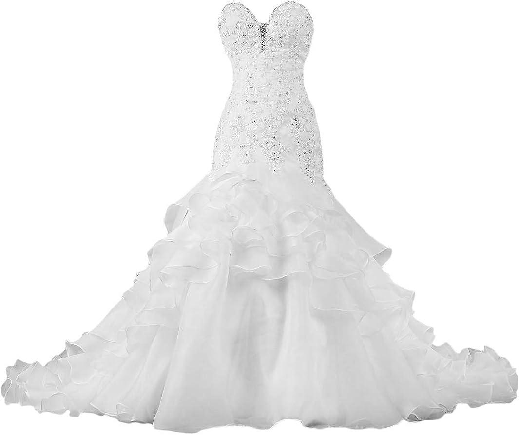 Forever Pretty Brautkleider Hochzeitskleider Lang Applikationen Brautkleid Meerjungfrau Brautmode Standesamt Hochzeitskleid mit Schleppe