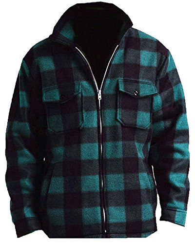 Woodland Supply Co. Men's Heavy Warm Fleece Sherpa Lined Zip Up Jacket,Large,Hunter Green Plaid
