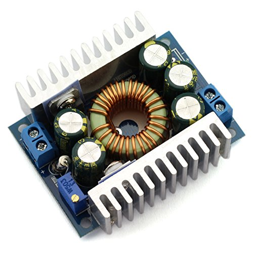 DZS Elec 12A DC-DC Step Down Buck Converter Low Ripple With Heat Sink 4.5V-30V to 0.8V-30V Vehicular Voltage Regulator (Voltage Over Capacitor)