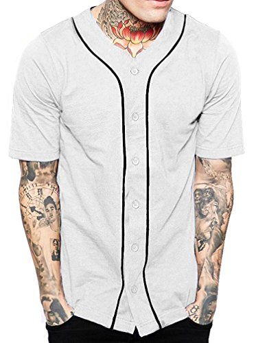 Hat and Beyond Mens Baseball Button Down Jersey Hipster Hip Hop T Shirts 1UPA01 02 (Medium, (Multi Team T-shirt)