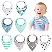 Baby Bandana Drool Bibs(8-Pack Set) - Unisex Stylish Design for Boys & Girls, Highly Absorbent Soft 100% Organic Cotton With Adjustable Snaps For Teething/Drooling/Feeding, Perfect Baby Shower Gift