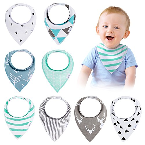 Baby Bandana Drool Bibs(8-Pack Set) - Unisex Stylish Design for Boys & Girls, Highly Absorbent Soft 100% Organic Cotton With Adjustable Snaps For Teething/Drooling/Feeding, Perfect Baby Shower Gift (Stylish Bandana)