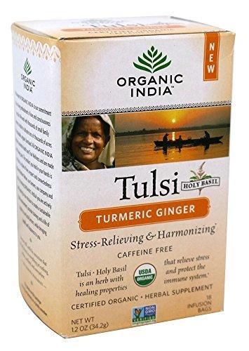 Tulsi Tea Original (Organic India Tulsi Ginger Turmeric 18 Tea Bags)