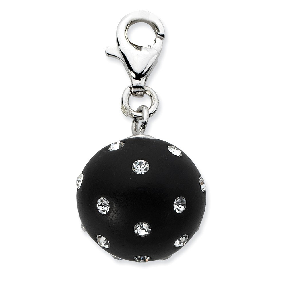 12mm x 33mm Solid 925 Sterling Silver Click-on Black Ferido /& Stellux Crystal Ball Pendant Charm