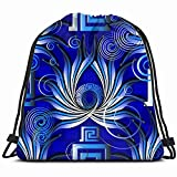 Bright Blue Greek Abstract 3D Drawstring Backpack Gym Dance Bags For Girls Kids Bag Shoulder Travel Bags Birthday Gift For Daughter Children Women