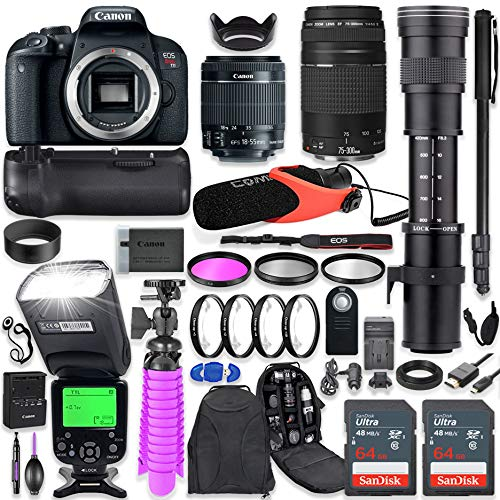 Canon EOS Rebel T7i DSLR Camera Kit with Canon 18-55mm & 75-300mm Lenses + 420-800mm Telephoto Zoom Lens + Battery Grip + TTL Flash (Upto 180 Ft) + Comica Microphone + 128GB Memory + Accessory Bundle ()