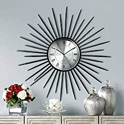 Newhill Designs Castallia Black 28 Round Metal Sunburst Wall Clock