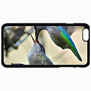 Customized Cellphone Case Back Cover For iPhone 6 Plus, Protective Hardshell Case Personalized Birds Feeding Black by mcsharks