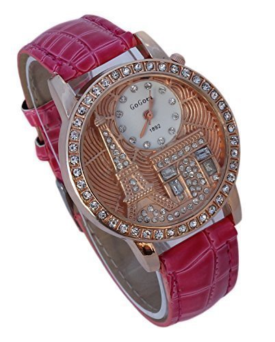 Costume Notre Dame De Paris (Women's Paris Eiffel Tower Arc De Triomphe Luxuary Style Rhinestone Fashion Watch with Pink Band)