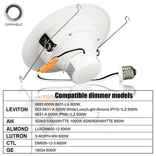 TORCHSTAR 5/6 Inch Dimmable Recessed LED Downlight, 13W (90W Equivalent), Energy Star, 2700K Soft White, 900lm, Retrofit LED Recessed Lighting Fixture, 5-YEAR Warranty, Pack of 12 by TORCHSTAR (Image #4)