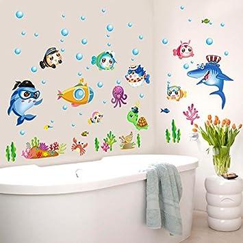 Mznm Aquarium Unterwasser Welt Fisch Badspiegel Badezimmer Deko