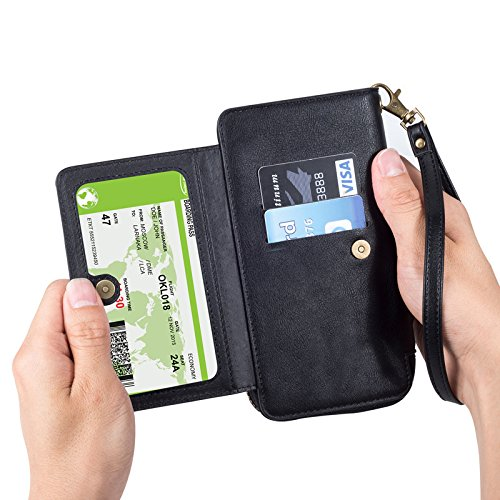 INorton Galaxy S9 Plus Case, Zipper Magnetic Wallet Purse Case with Card Slots and Money Pocket, Retro Vintage Stand Smart Phone Sleeve for Galaxy S9 Plus by INorton (Image #4)