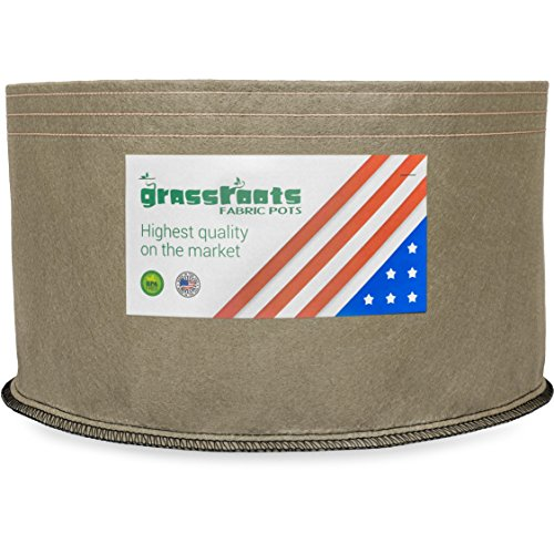 HIGHEST QUALITY REUSABLE (150 Gallon Tan) Classic Grassroots Fabric Pots100% Made in USA – NOT CHEAP FOREIGN Grow Bags professional grade TAN planters are better for your plants Review