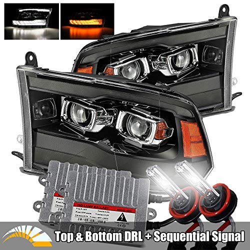 AlphaRex 6000K Xenon/Smoke Black For 09-18 Ram 1500/10-18 Ram 2500/3500 Top and Bottom DRL/Switchback Sequential Signal Dual Projector Headlights
