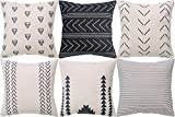 DEZENE Throw Pillow Covers for Couch,6 Pack,Natural Linen Look...