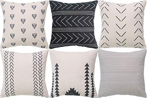 DEZENE Throw Pillow Covers for Couch,6 Pack,Natural Linen Look Fabric,Modern Geometric Patterns,Decorative Sofa Square Cushion Pillow-Cases,18 x 18 inch,Black ()