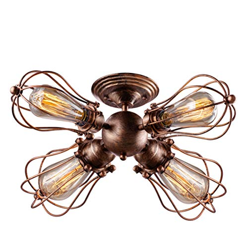 Vintage Wire Cage Semi Flush Mount Ceiling 4-Light Licperron Industrial Antique Rust Color Metal Caged Ceiling Fixture for Living Room Dining Room Kitchen ()