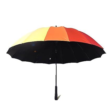 Paraguas 16 Hueso 16 Color Arco Iris Paraguas Automatico Color Rain Shine Paraguas Mango Largo Barra