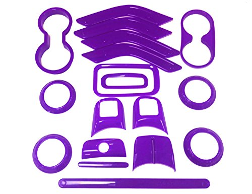 E-cowlboy 18 PCS Full Set Interior Decoration Trim Kit,Interior Door Handle Cover Trim,Air Conditioning Vent Cover Trim, Copilot Handle Cover Trim, For Jeep Wrangler JK JKU 2011-2016 4-door(Purple)