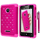 Microsoft Lumia 435 Case, Style4U Studded Rhinestone Crystal Bling Hybrid Armor Case Cover for Microsoft Lumia 435 with 1 Stylus [Hot Pink / Hot Pink]