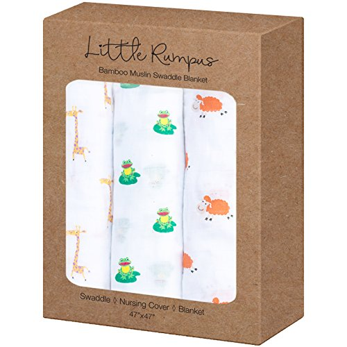 """Little Rumpus Bamboo Muslin Swaddle Blanket – 47"""" by 47"""" Ultra Soft Set of 3 For Boys and Girls"""