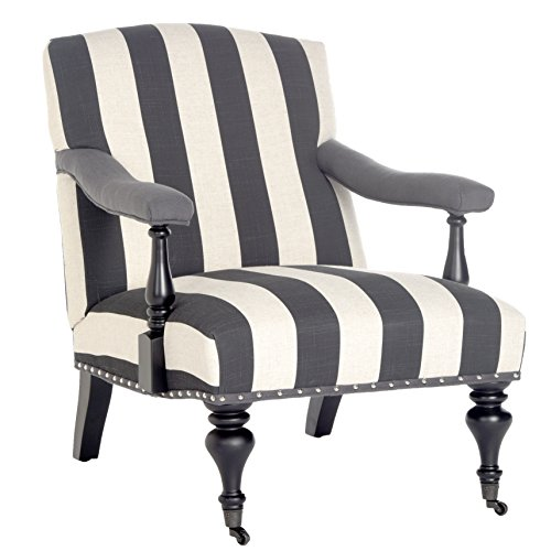 Safavieh Mercer Collection Devona Black and White Stripe with Silver Nailheads Arm Chair (Chair Striped Modern)