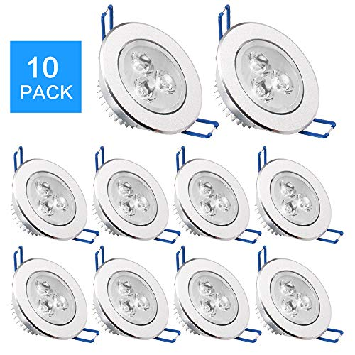 (Pack of 10,Modaao LED Ceiling Light Downlight, Spotlight Lamp Recessed Lighting Fixture,with LED Driver (Cold White, Pack of 10,3w))