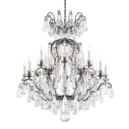 Schonbek 3573-48AD Renaissance Rock Crystal 16-Light Chandelier with Amethyst and Black Diamond Rock Crystal Colors, Antique Silver - Renaissance Sixteen Light Chandelier