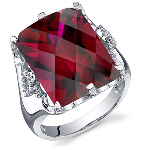 Radiant Ruby Ring - 16.00 Carats Created Ruby Ring Sterling Silver Radiant Cut Size 7