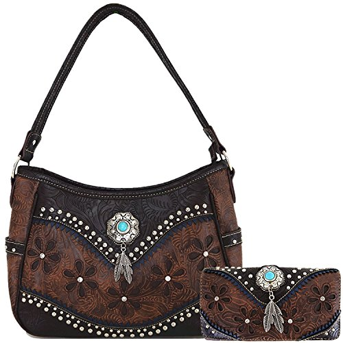 Tooled Leather Laser Cut Concealed Carry Purses Feather Country Western Handbags Shoulder Bags Wallet Set (Coffee)