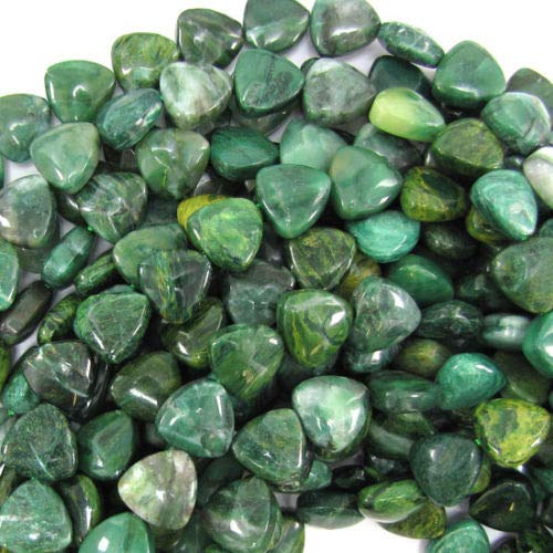 (ShopForAllYou Design Making 13mm Green African Jade Triangle Beads 15.5
