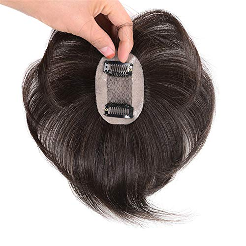 Hand Made Short Human Hair Toppers Straight Hairpiece Clip in Crown Hair Extensions for Covering White Loss Hair Toupee Wiglet 18cm(5x8cm,Natural Black)