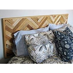 Bedroom Modern Farmhouse King Sized Wall Mounted Headboard, Rustic Reclaimed Wooden Slat Hanging Chevron Herringbone Bedroom… farmhouse headboards