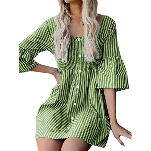 iPOGP Women's Boho Casual Stripe Dress Round Neck Short Sleeve Loose Button Midi T Shirt Dress Girl Fashion (Green,XXL) -