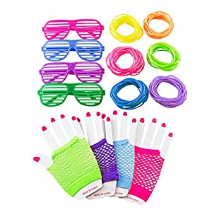 80s Retro Rock Pop Star Disco Dress-Up Party Pack Supply Set with Diva Finger-less Net Gloves, Shutter Style Glasses, Jelly Neon Gel Bracelets for Theme Events, Colorful Assortment