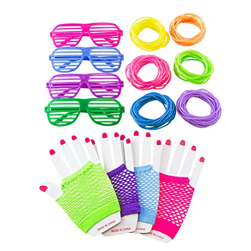 80s Retro Rock Pop Star Disco Dress-Up Party Pack Supply Set with Diva Finger-less Net Gloves, Shutter Style Glasses, Jelly Neon Gel Bracelets for Theme Events, Colorful (80s Halloween Costumes Plastic)