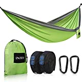 "INTEY Camping Hammock 2 Person Hammock Portable Hammock Max 660lbs Breaking Capacity with 12KN Carabiners & 10FT Ropes, Parachute Hammock for Outdoors Backpacking Camping Hiking Travel. 118"" x 78"""