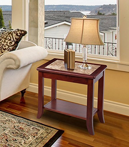 "Olee Snooze 22"" Crema Cappuccino End Table/ Light Brown Natural Marble Top / Natural Brown Finish Solid Wood Cowardly"