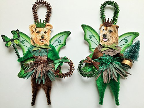 (Norfolk Terrier WOODLAND FAIRY ornaments holiday dog ornaments vintage style chenille ORNAMENTS set of 2)