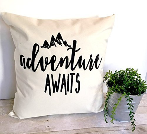 Price comparison product image Adventure Awaits Pillowcase 16x16, Pillow Cover, Cushion Cover, Graphic Pillow, Throw Pillow, Housewarming Gift, Pillow With Quote, Pillow With Saying, Home Decor