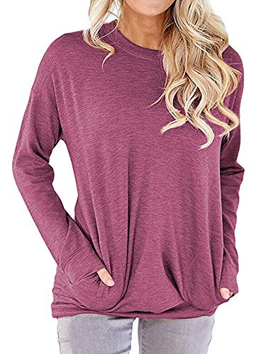 (RJXDLT Women's Crew Neck Pullover Sweatshirts Casual Loose Tunic Tops Long Sleeve Shirts Blouses for Women Fuchsia M)