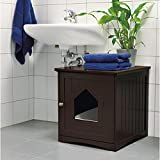 2-in-1 Can be used as an indoor pet house or cat litter box for home or bathroom (Brown)