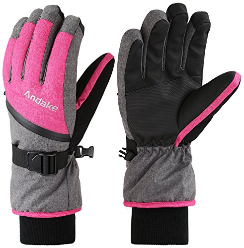 White Mens Snowboard Glove (Andake Ski Gloves, Touchscreen 3M Thinsulate Waterproof TPU Membrane Women's Winter Gloves with Non-Slip PU Palms, Zippered Pocket and Adjustable Wrist for skiing, snowboarding, climbing and skating)