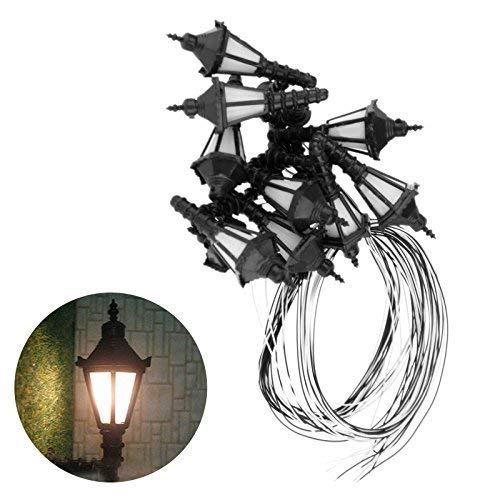 Yetaha 10 pcs HO Scale 1:50 Model Lamppost 3V Bulbs Wall Light Lamps LED Lamppost Street Lights Single Head