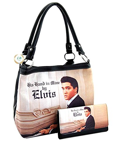 Elvis Presley Black Leather (Elvis Presley Medium Handbag Wallet Set, Playing Piano, EL9203-SET)
