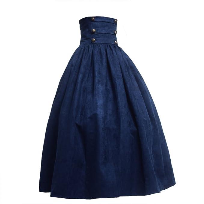 BLESSUME Gótico Lolita Steampunk Alto Cintura Para caminar Falda (Azul, L)