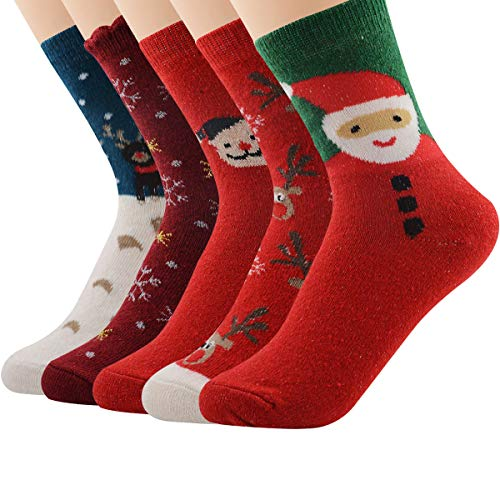 Century Star 5 Pairs Cashmere Wool Full Cushion Womens Crew Dress Socks 5 Pairs Christmas - Patterned Christmas
