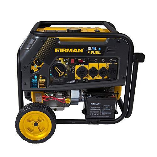 (Firman H08051 10000/8000 Watt 120/240V 30/50A Electric Start Gas or Propane Dual Fuel Portable Generator CARB Certified)